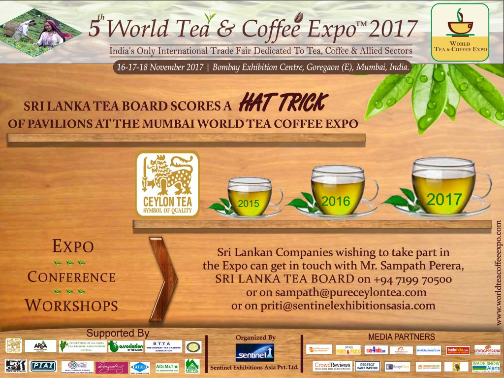 SRI LANKA TEA BOARD SCORES A HAT TRICK OF PAVILIONS AT THE MUMBAI WORLD TEA COFFEE EXPO
