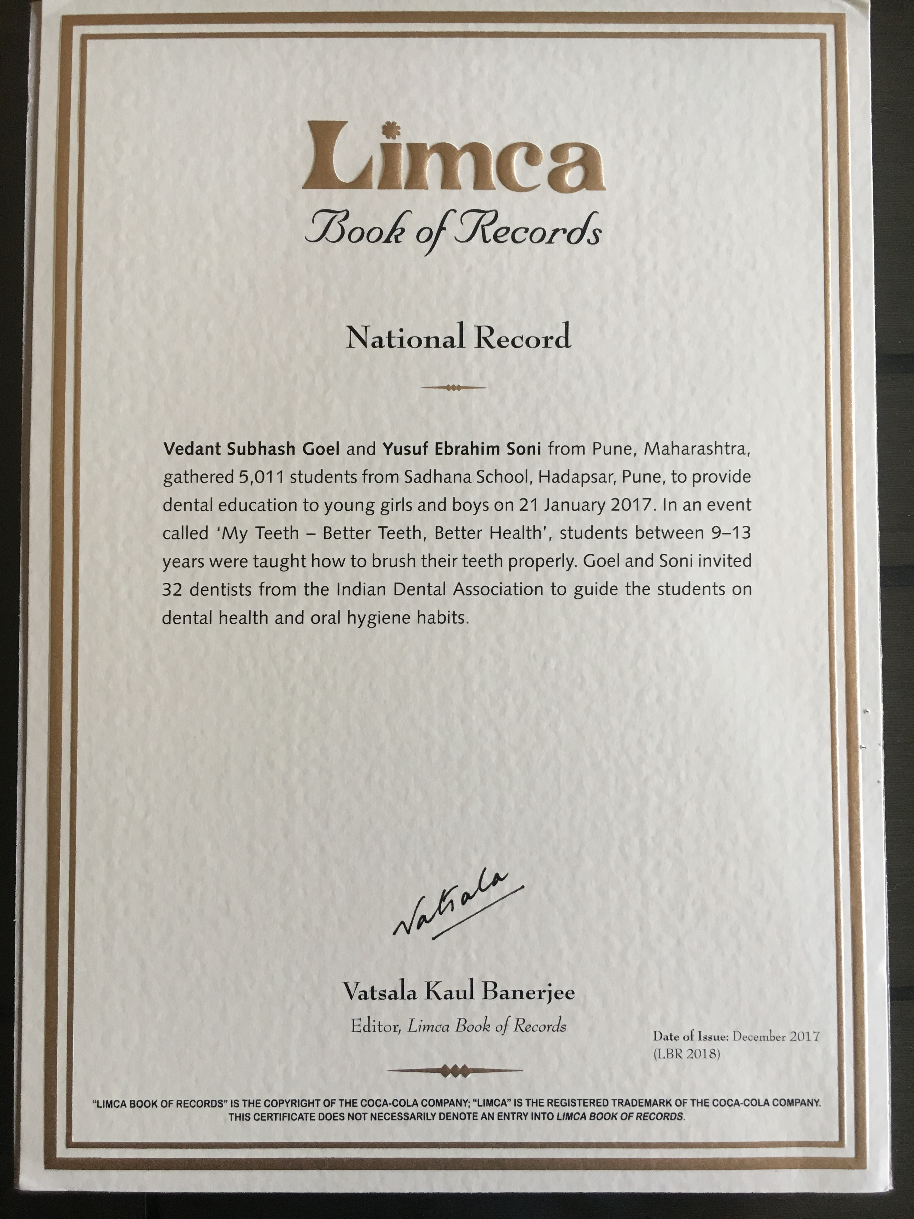Limca Book of Record for 'My Teeth – Better Teeth, Better Health' Campaign
