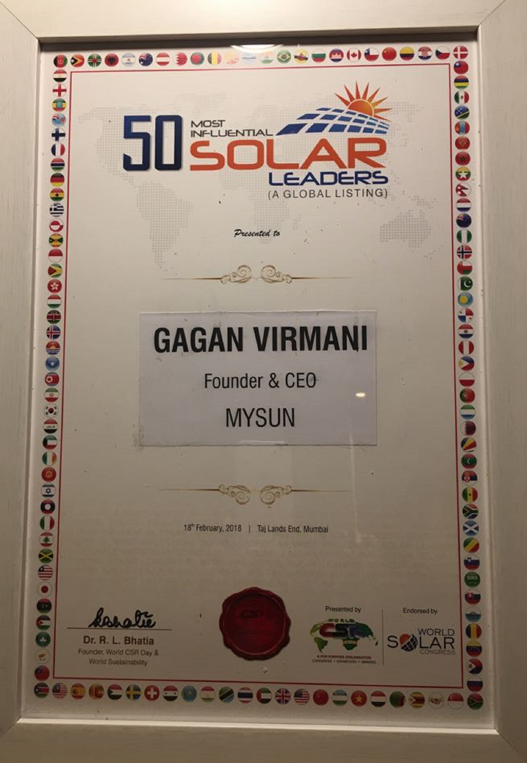 World's '50 Most Influential Solar Leaders'
