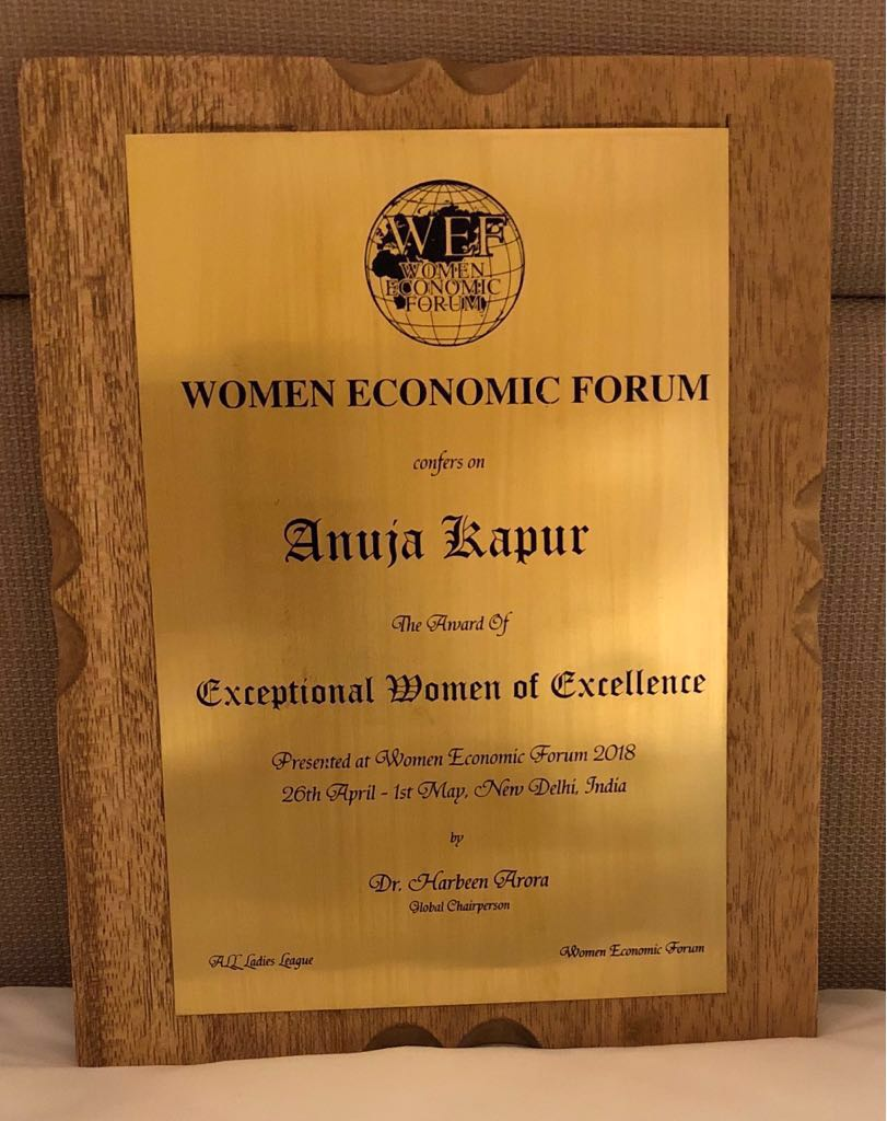 Criminal Psychologist Anuja Kapur awarded by Women Economic Forum
